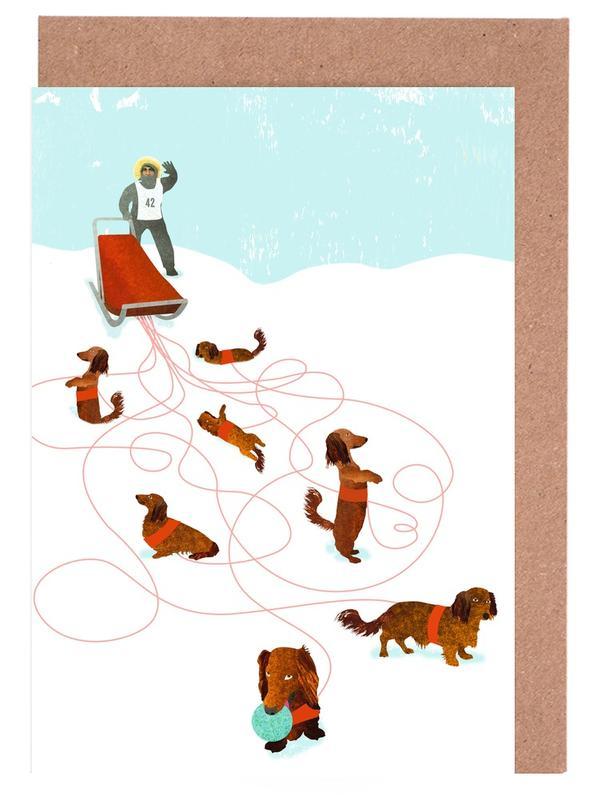 Weihnachten, Sled dog -Grußkarten-Set