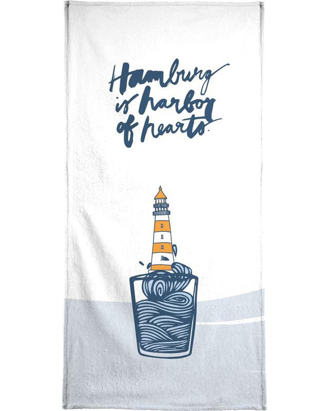 Hamburg, Harbor of Hearts Bath Towel