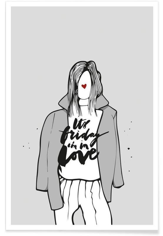 Zwart en wit, Liefdescitaten, She Loves Friday poster