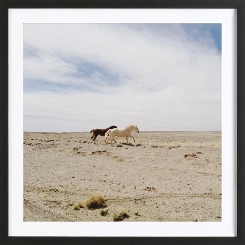 Bloomfield Horse Run -Bild mit Holzrahmen