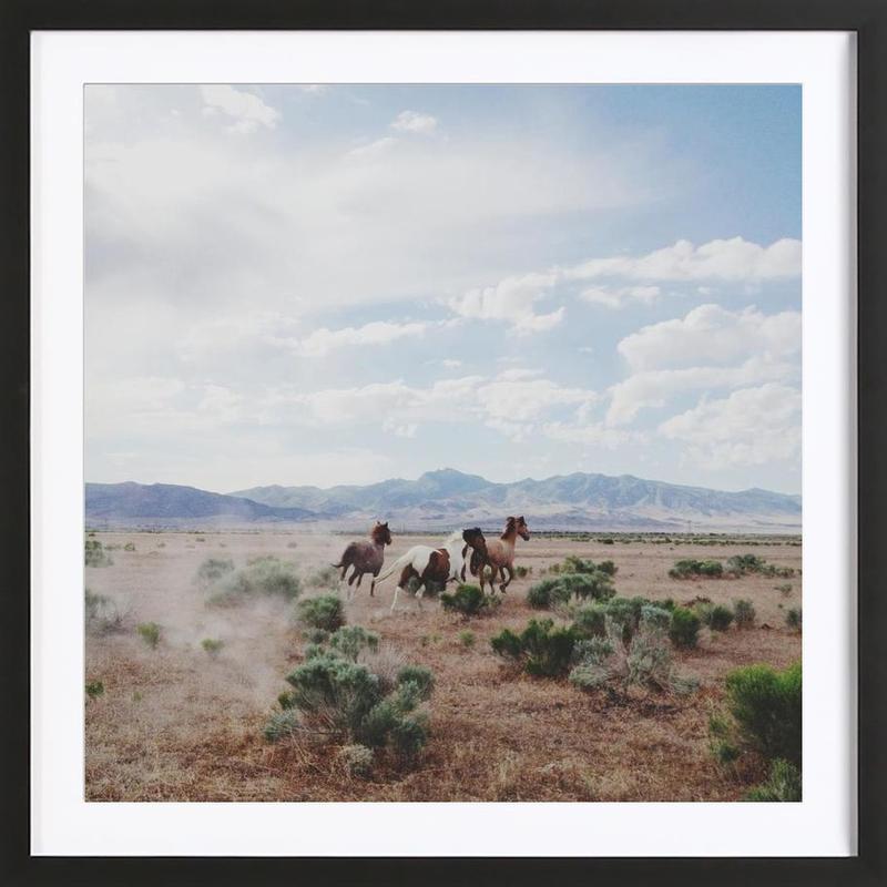 Running Horses -Bild mit Holzrahmen
