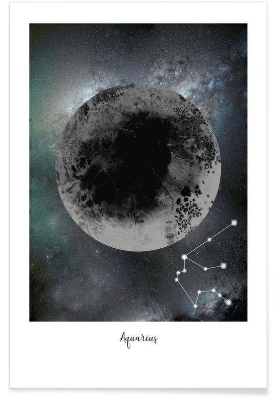 Mond, Zodiac Aquarius -Poster
