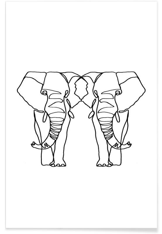 Noir & blanc, Éléphants, Elephant Lines affiche