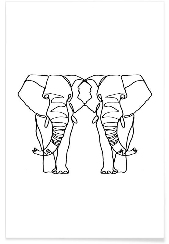 Elephant Lines Poster