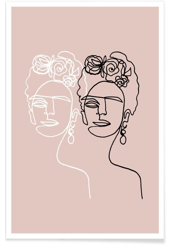 Frida Kahlo Double Rosé Poster