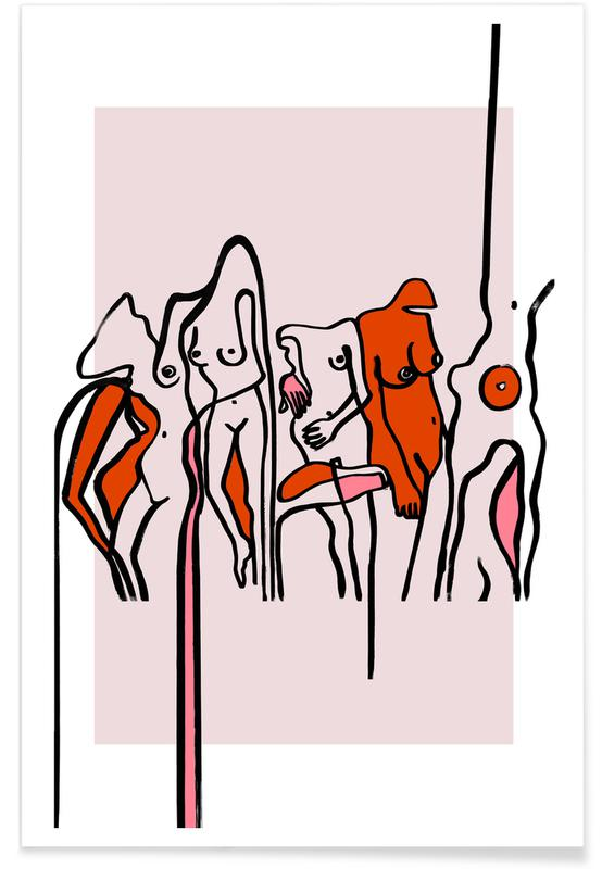 Nude, Groups, Nudists Pink Poster
