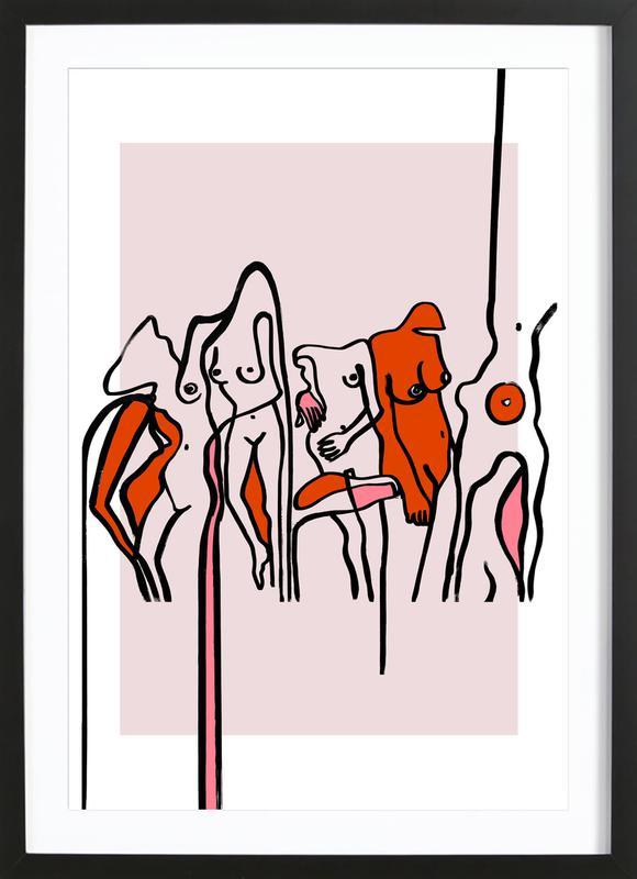 Nudists Pink ingelijste print