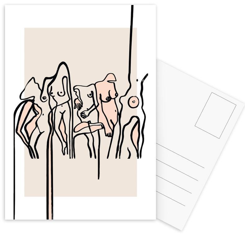 Gruppen, Akte, Nudists -Postkartenset
