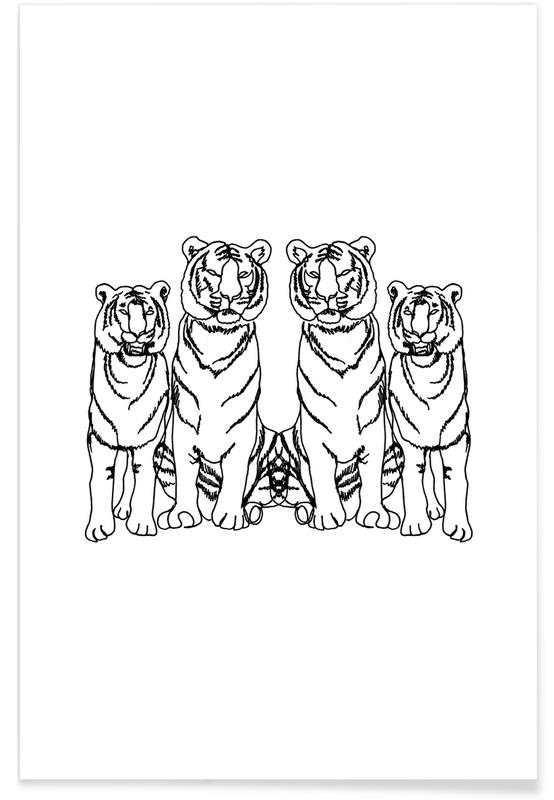 Tigres, Art pour enfants, Noir & blanc, Single Tiger Squad affiche