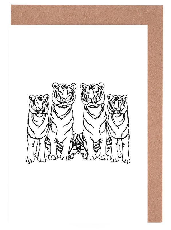 Tiger, Kinderzimmer & Kunst für Kinder, Schwarz & Weiß, Single Tiger Squad -Grußkarten-Set