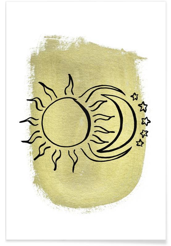 Mond, The Sun & Moon & Stars Gold -Poster