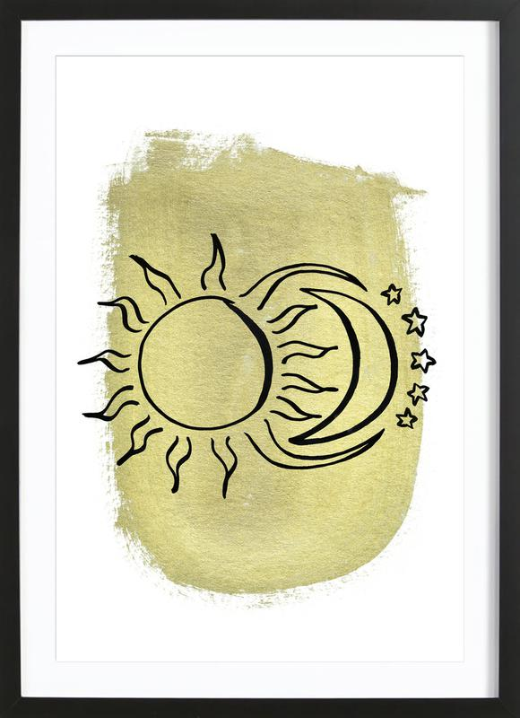 The Sun & Moon & Stars Gold ingelijste print