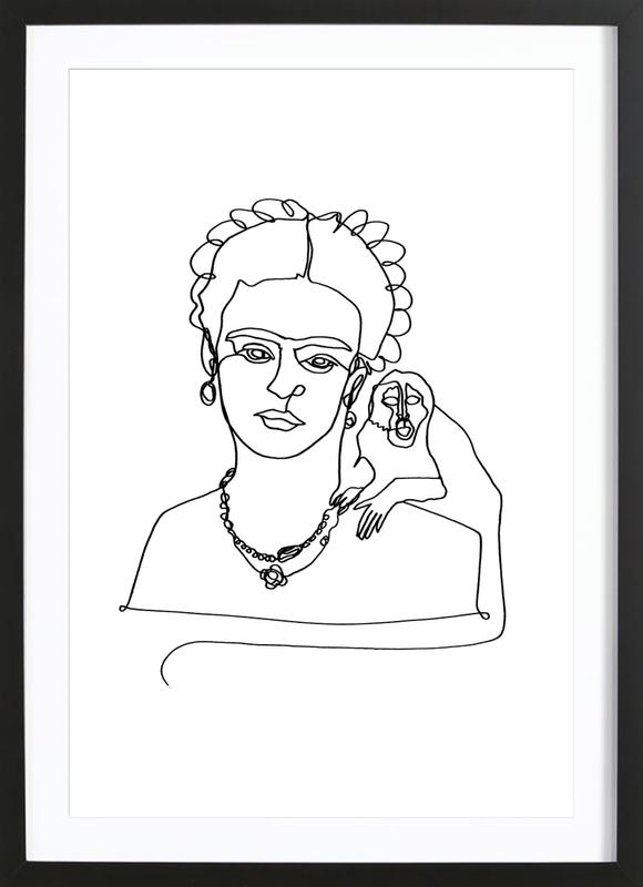 Frida And Monkey ingelijste print