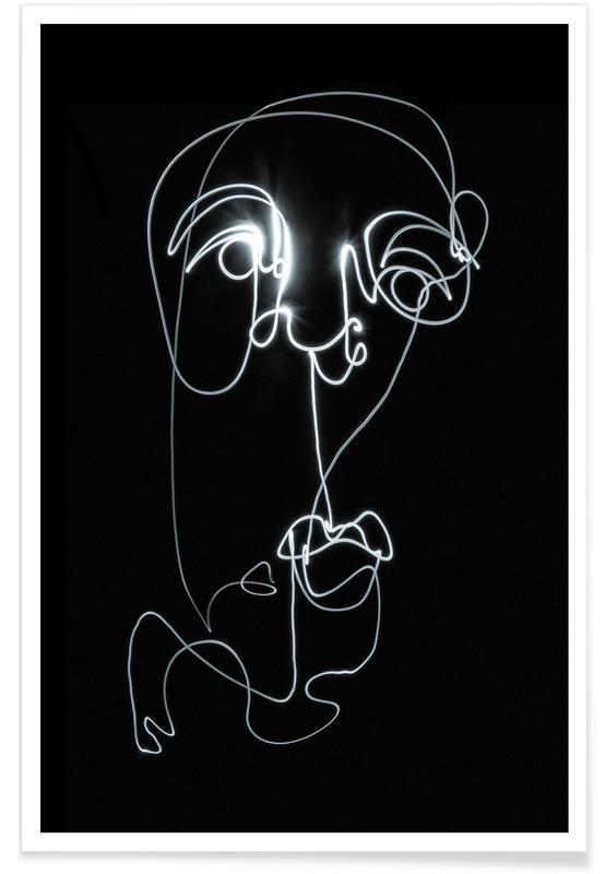 Zwart en wit, Lightpainting 2 poster