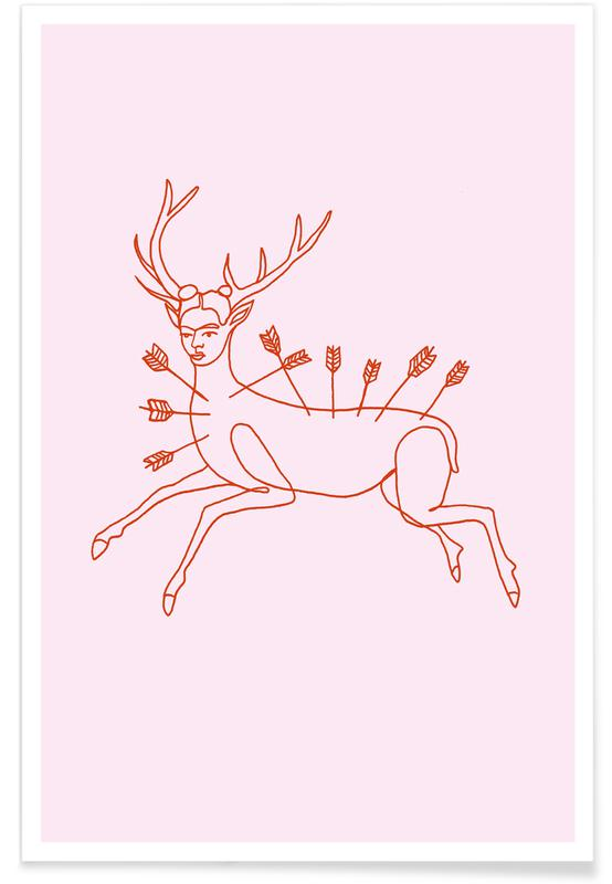 Frida Kahlo, Frida Wounded Deer Pink poster