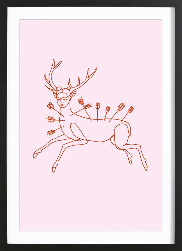 Frida Wounded Deer Pink ingelijste print