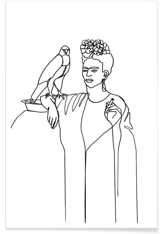 Black & White, Frida Kahlo, Frida And Falcon Poster
