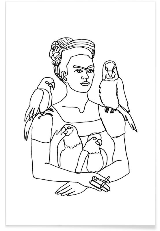Black & White, Frida Kahlo, Frida And Birds Poster