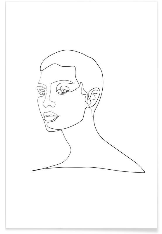 Portraits, Noir & blanc, Quinn affiche