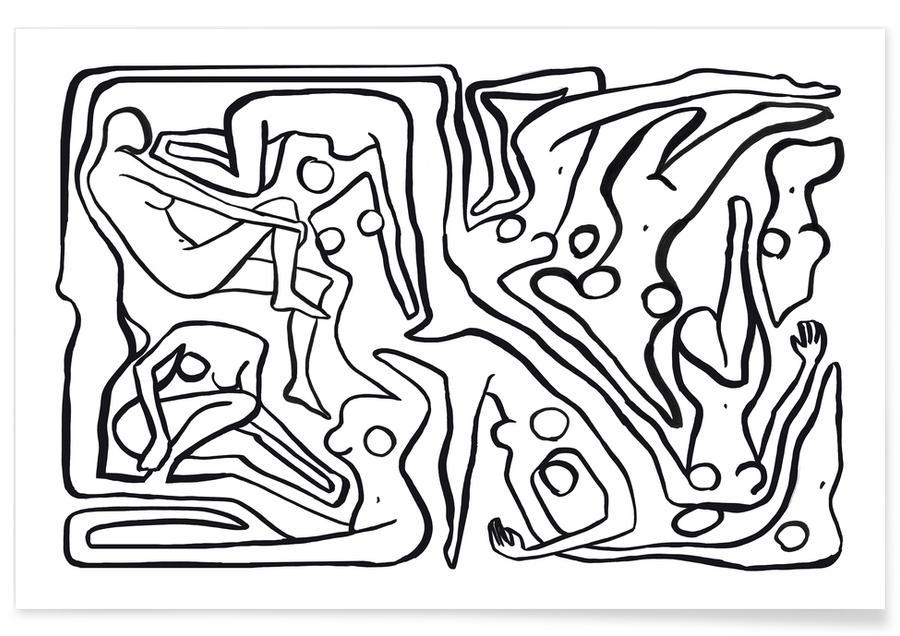 Noir & blanc, Détails corporels, Ecstatic Nudes 7 Bw affiche