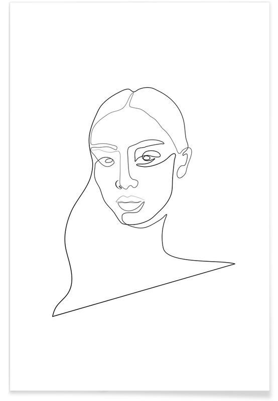 Porträts, Schwarz & Weiß, Naina -Poster