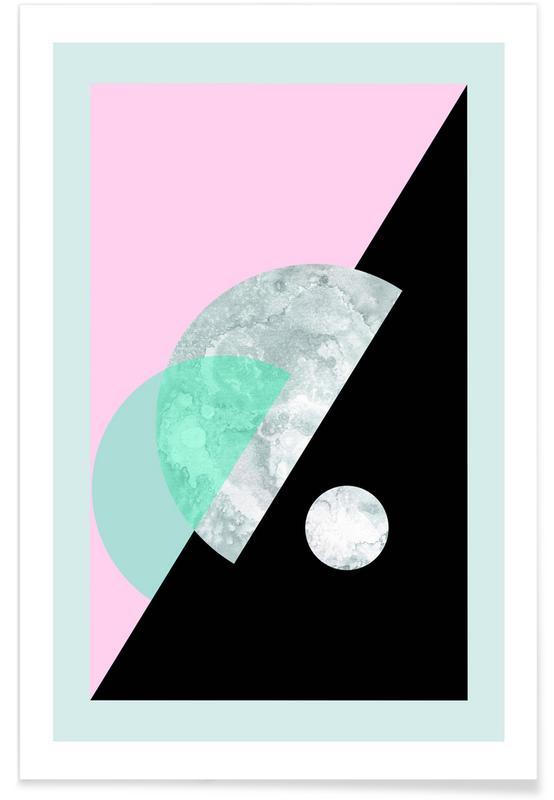 , Pastel Moon Geometric -Poster
