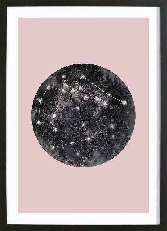 Constellation Pink -Bild mit Holzrahmen