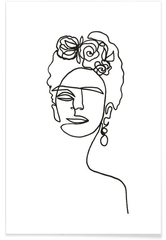 Frida Kahlo, Noir & blanc, Frida Kahlo en art linéaire affiche