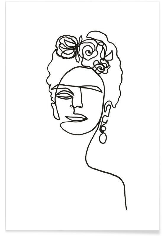 Frida Kahlo en art linéaire affiche