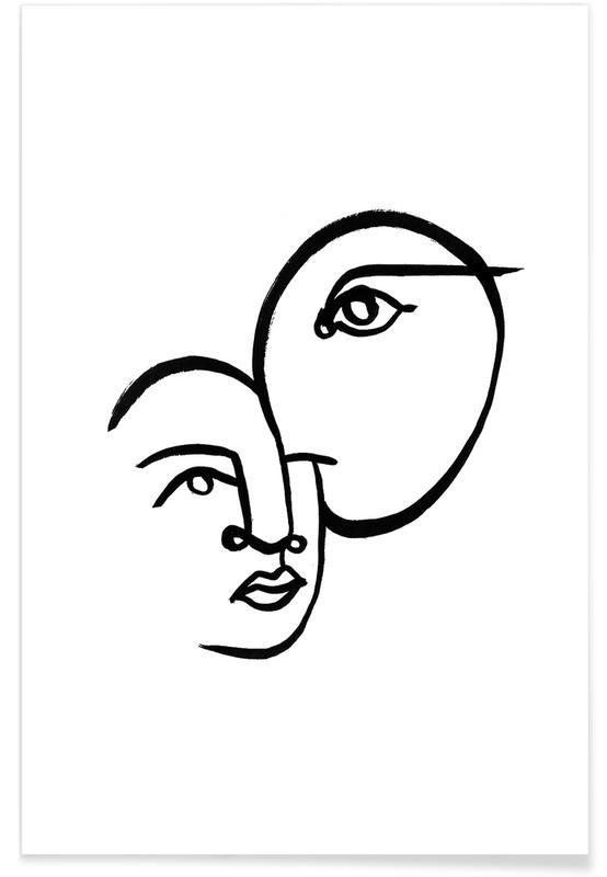 Zwart en wit, Portretten, Faces 3 poster