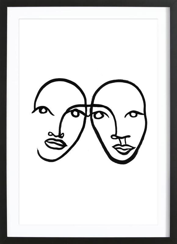 Faces 5 ingelijste print