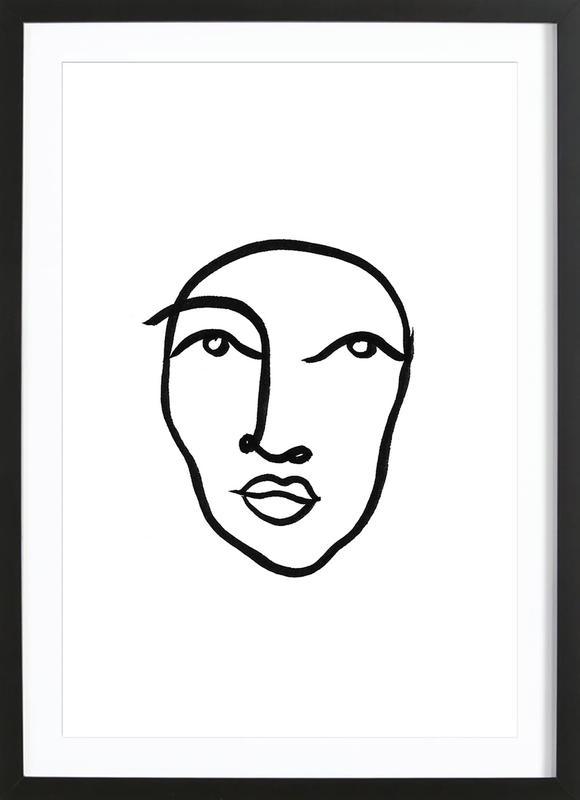 Faces 6 -Bild mit Holzrahmen