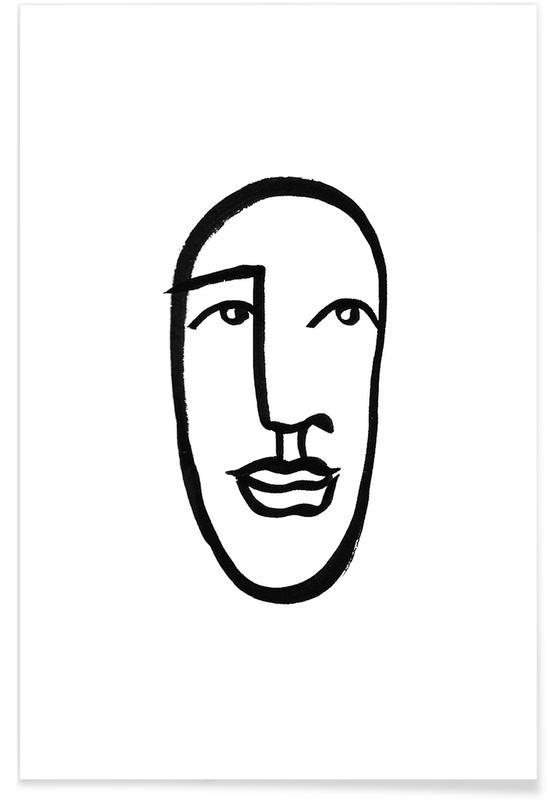 Zwart en wit, Portretten, Faces 7 poster