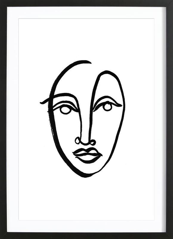 Faces 9 ingelijste print