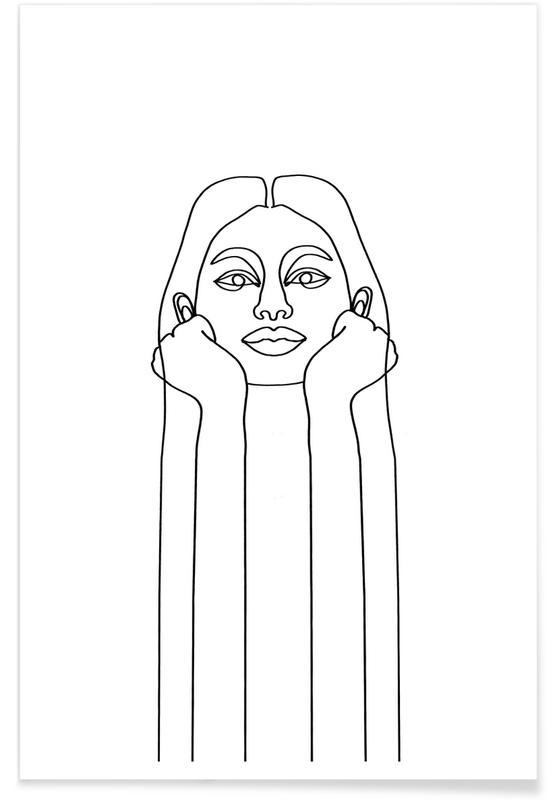 Schwarz & Weiß, Porträts, Curious Girl -Poster