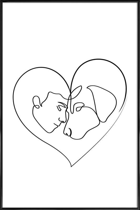 Dog Love -Bild mit Kunststoffrahmen