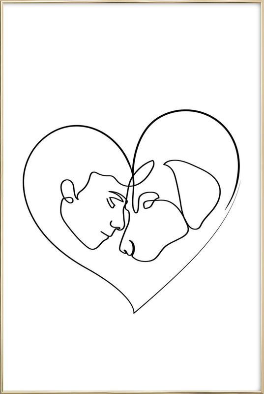 Dog Love poster in aluminium lijst
