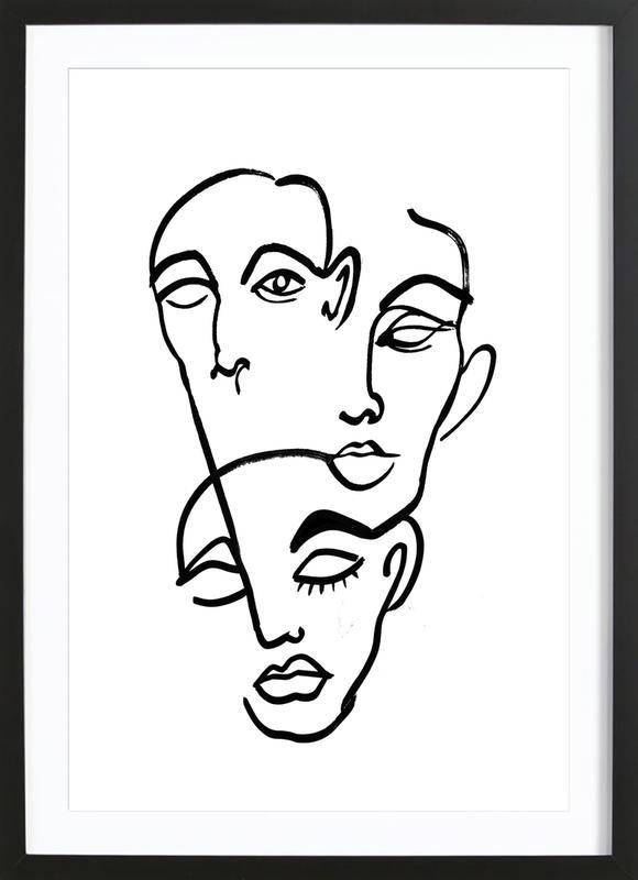 Faces 12 ingelijste print