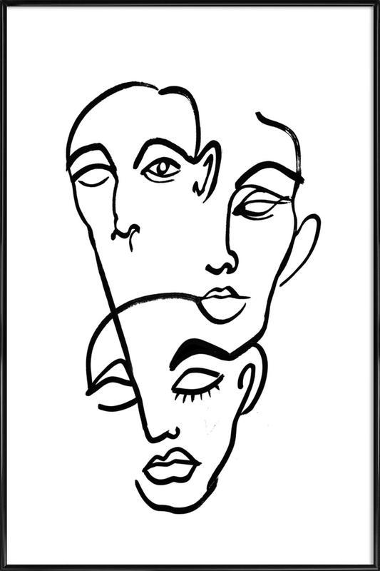 Faces 12 ingelijste poster