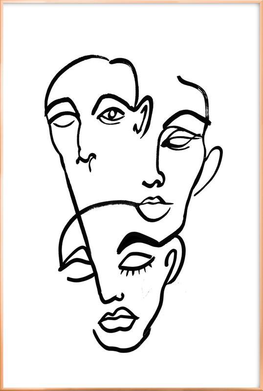Faces 12 poster in aluminium lijst