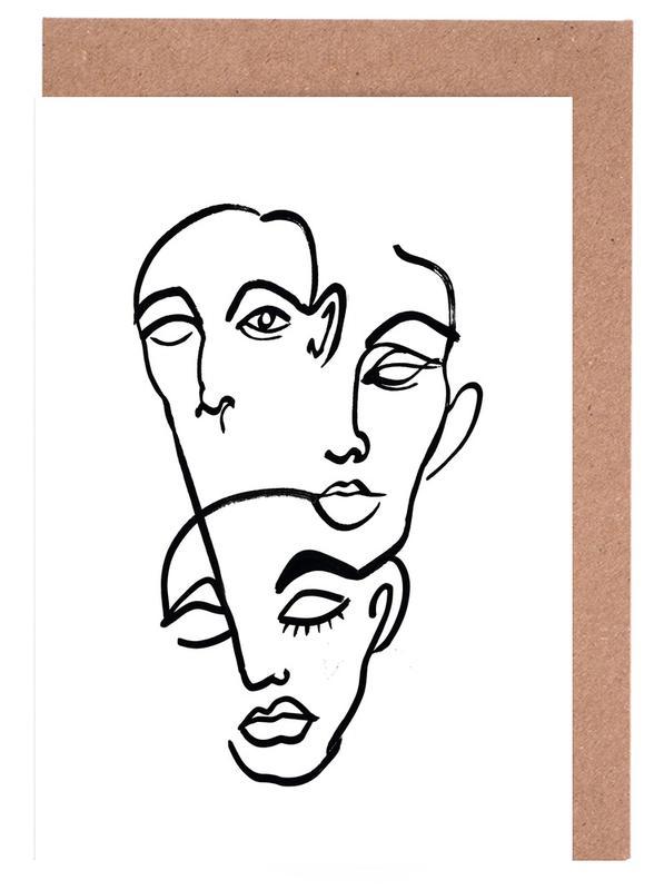 Faces 12 Greeting Card Set