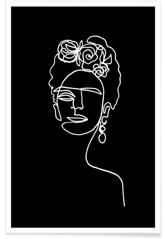 Frida Kahlo BW -Poster