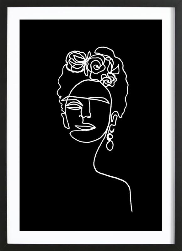 Frida Kahlo BW ingelijste print