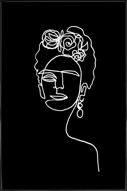 Frida Kahlo BW affiche encadrée