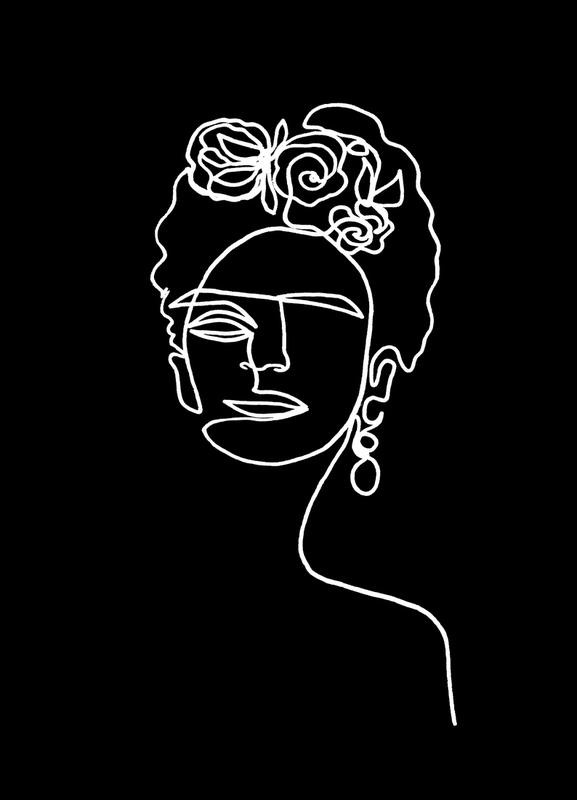 Frida Kahlo BW canvas doek