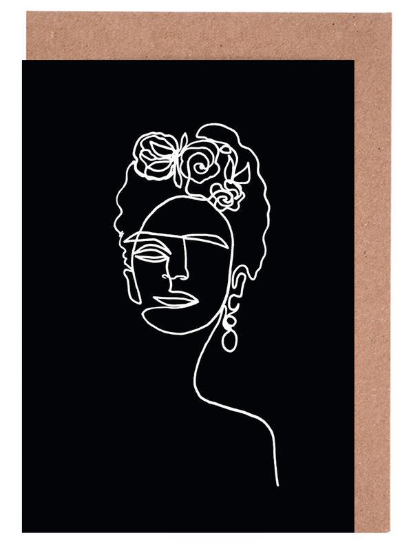 Frida Kahlo BW -Grußkarten-Set