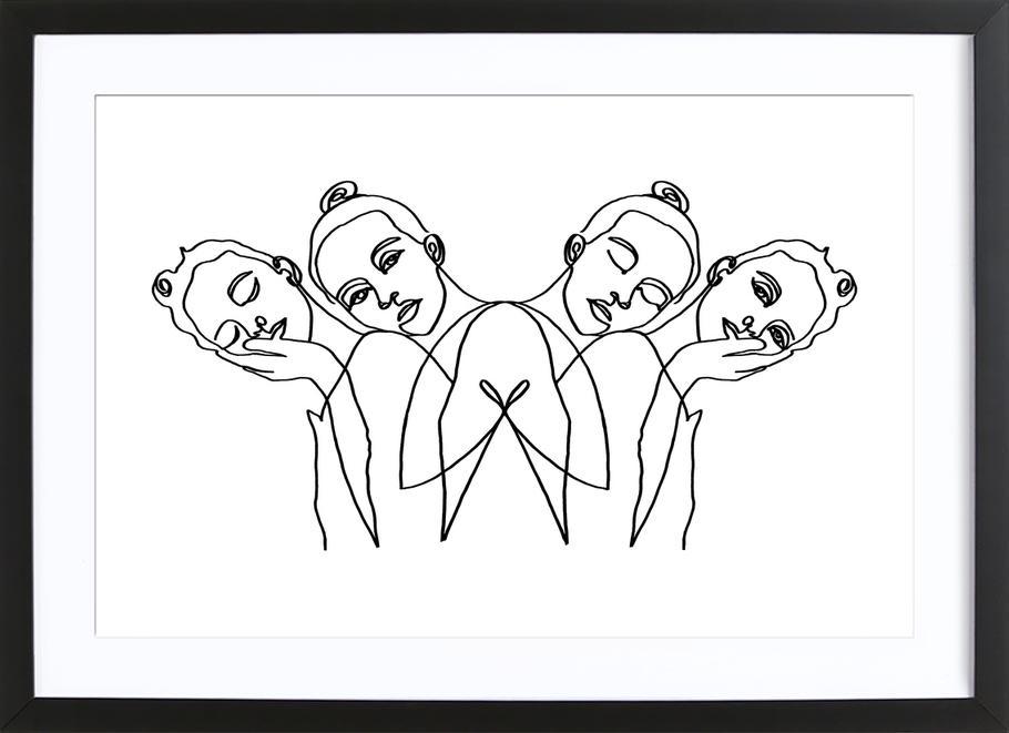 Girls -Bild mit Holzrahmen