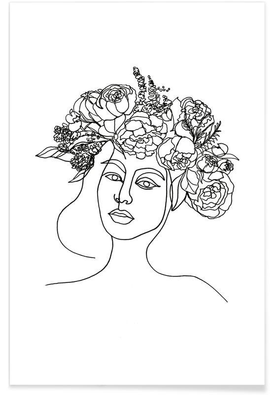 Zwart en wit, Portretten, Layla poster