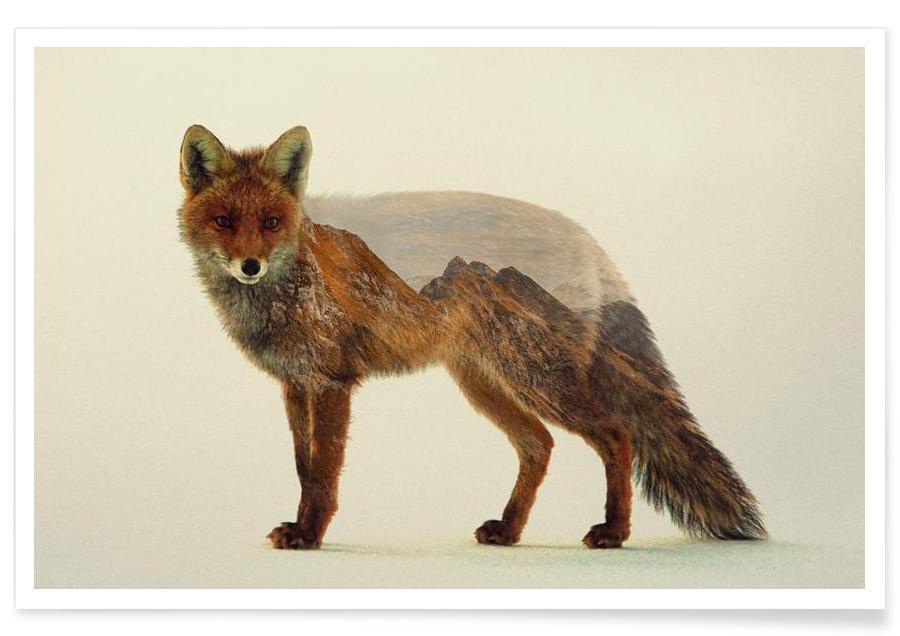 Foxes, Mountain Fox Double Exposure Poster