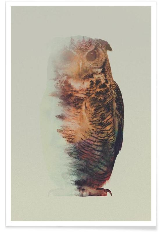 Owls, Owl Double Exposure Poster